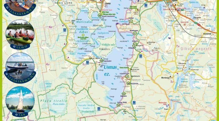 Usmas ezera velo un ūdens maršrutu karte.